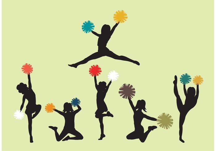 Set of Cheerleader Silhouette Vectors