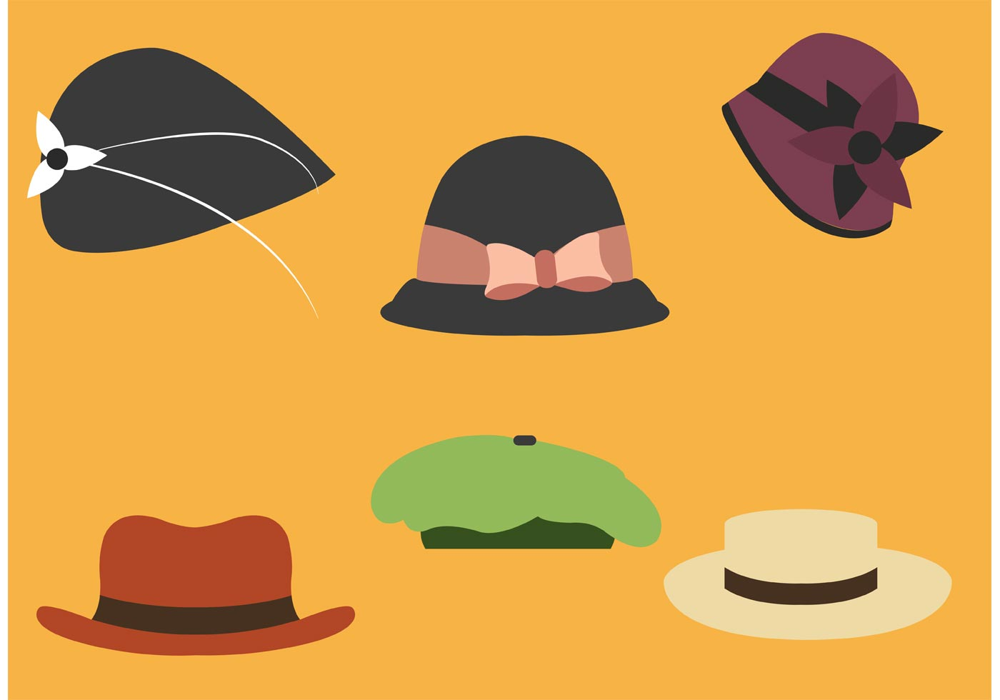 Roaring 20s Hat Collection Download Free Vector Art