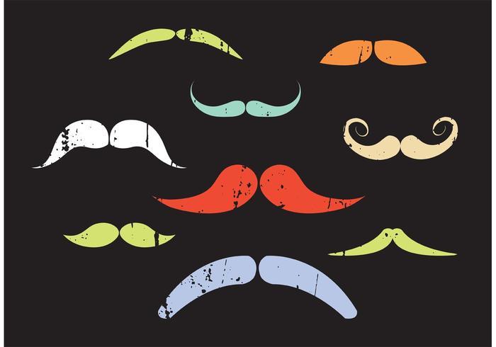 Ensemble vectoriel de moustaches colorées