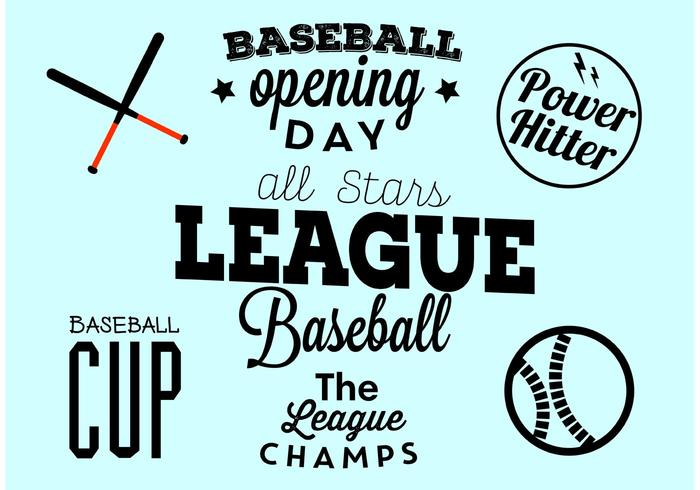 Baseball Opening Day Typographic Set vector