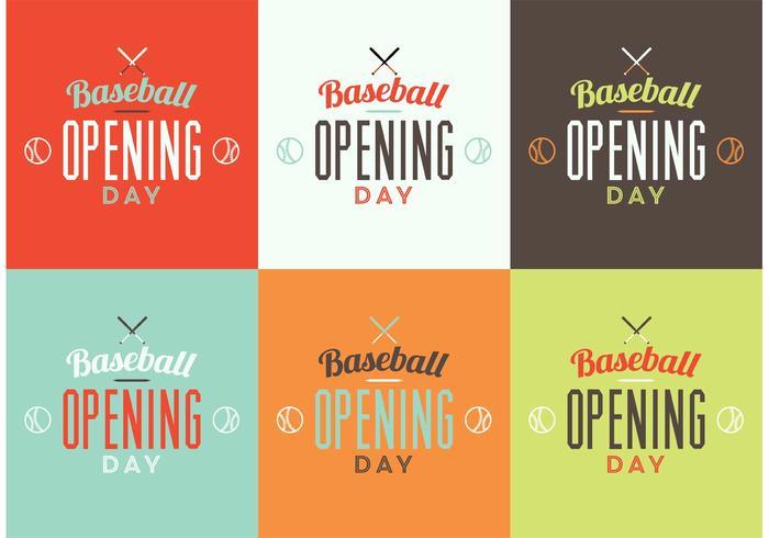 Baseball-Eröffnungs-Tages-Logo-Set