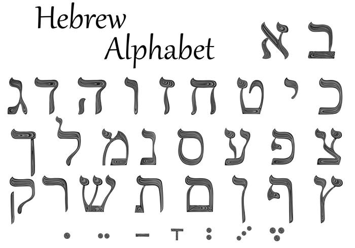 The set of letters of the hebrew alphabet download free Hebrew calligraphy art