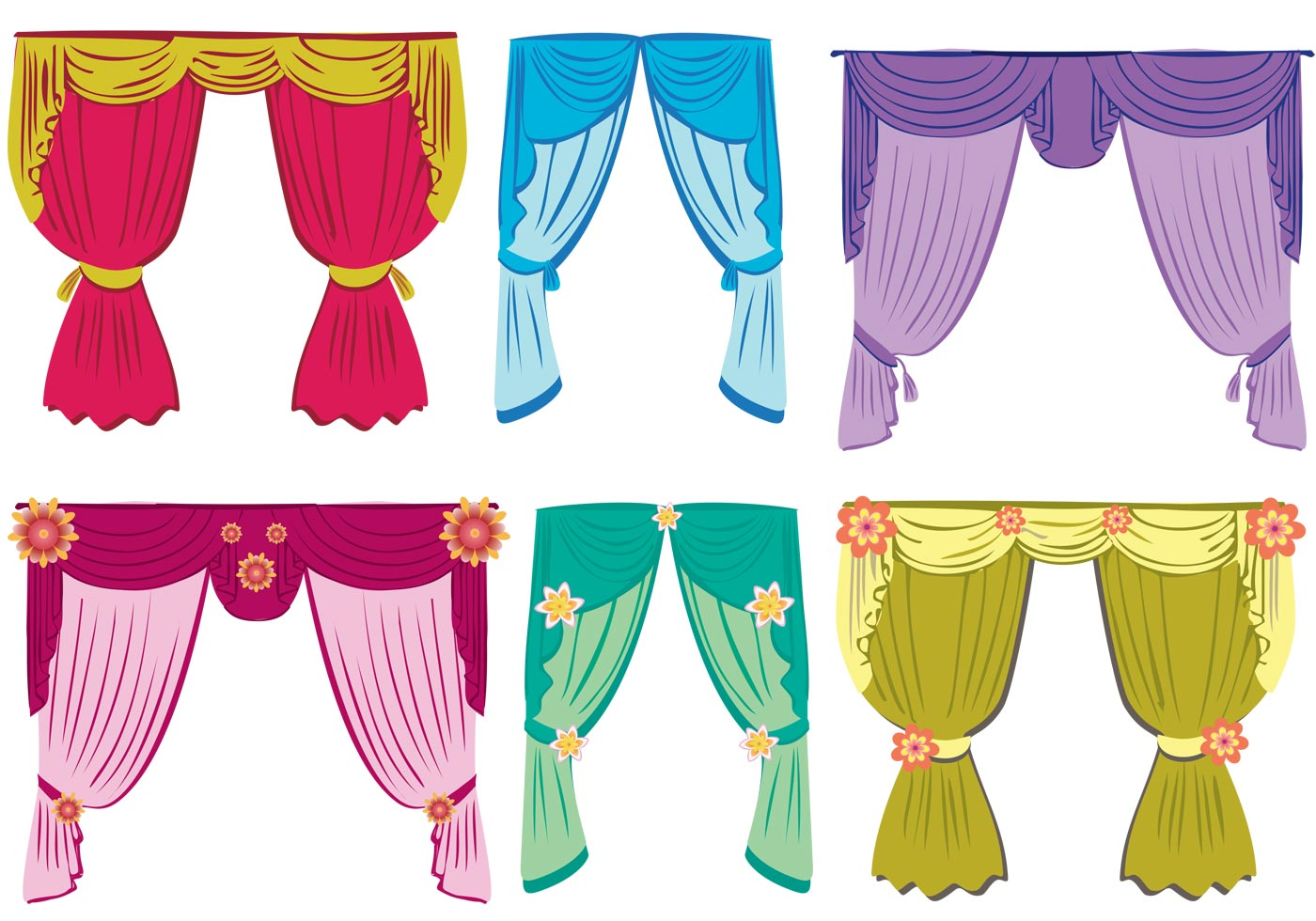 Colorful Fancy Window Curtain Download Free Vectors