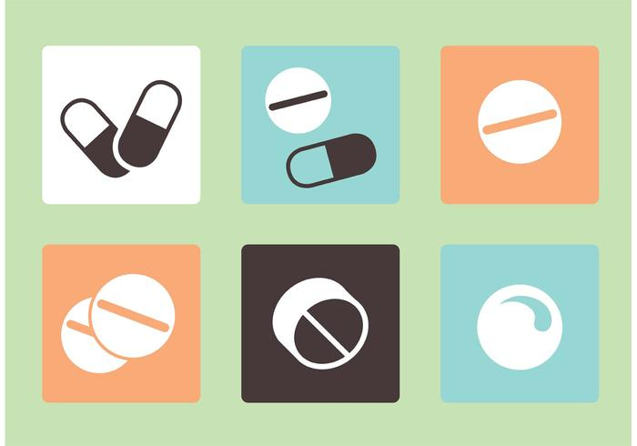 Vector White Pills Icons