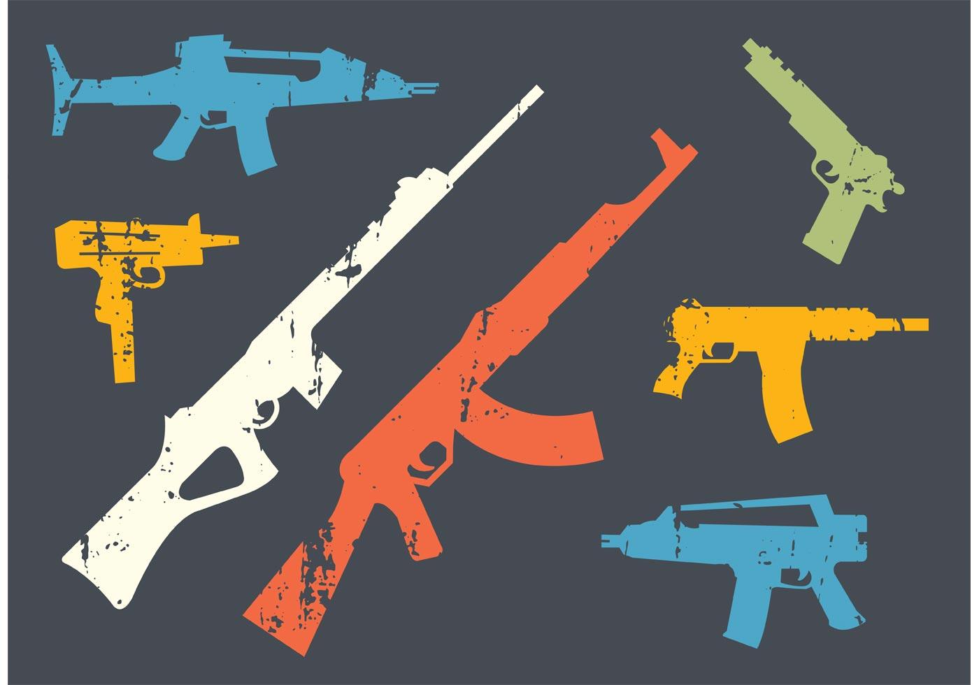 Grunge Gun Shape Vectors Download Free Vector Art Stock