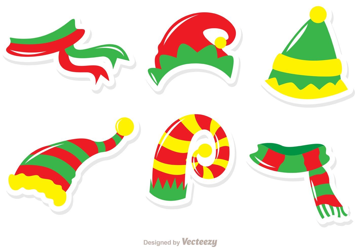 Hats And Scarves Santa Elves Vector Pack - Download Free Vector Art ...
