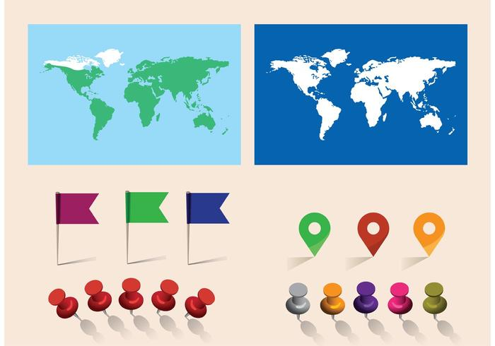 Free vector world map with pins download free vector art stock free vector world map with pins gumiabroncs Images