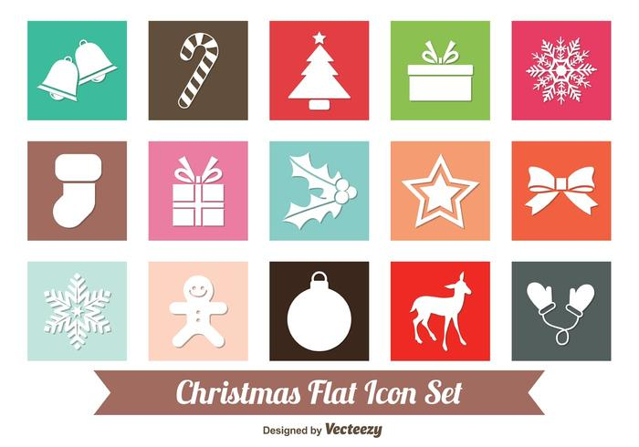 Flat Christmas Icon Set