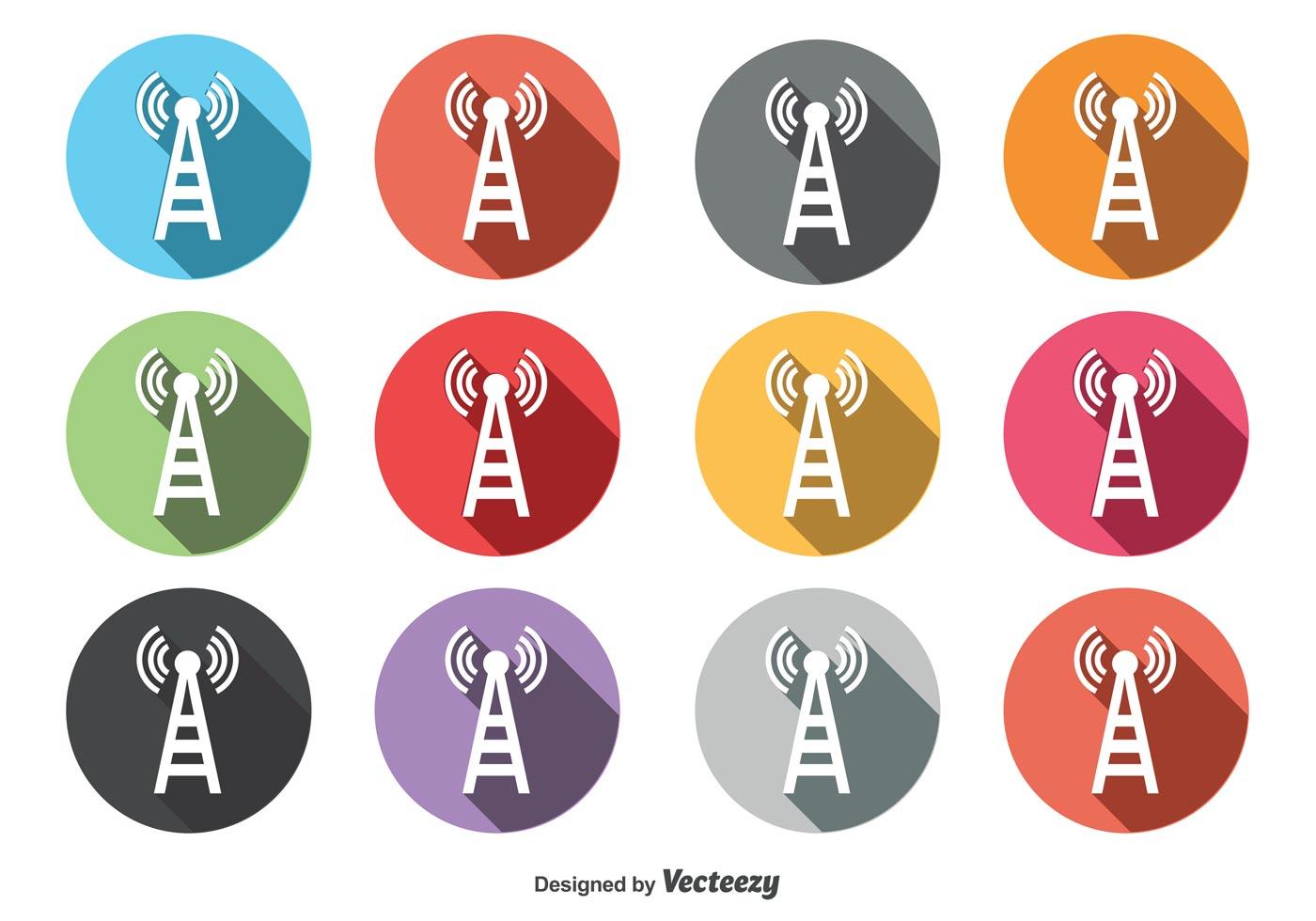 Round Phone Tower Icon Set