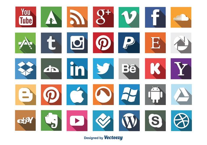 Social Media Lange Schatten Icon Set