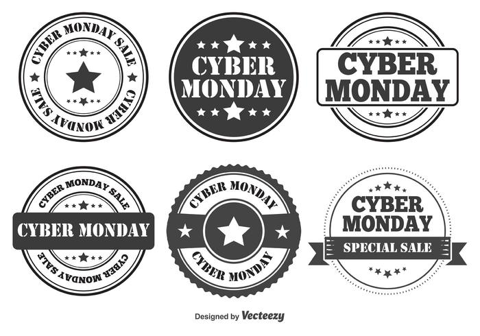 Cyber Monday Retro Style Badges vector