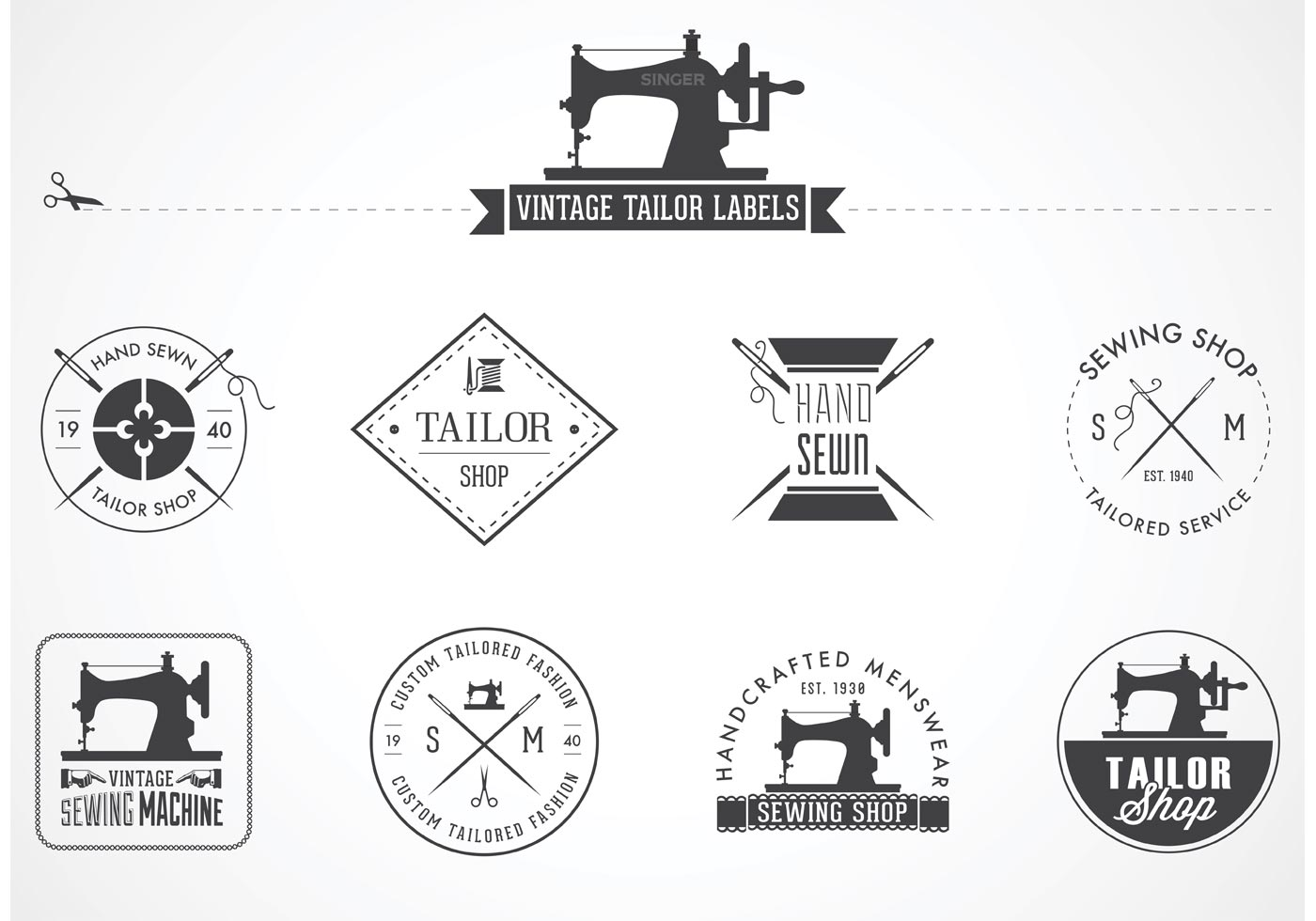 Free Vintage Tailor Vector Labels - Download Free Vector ...