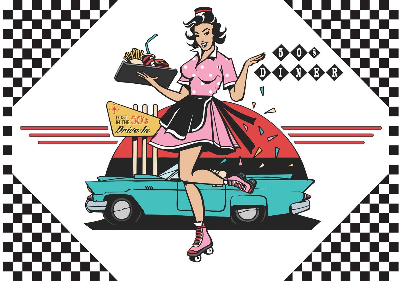 Free 50 39 s drive in diner vector ilustration download for Diner artwork