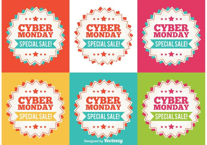 Cyber ​​Monday Flat Sale Tags vector