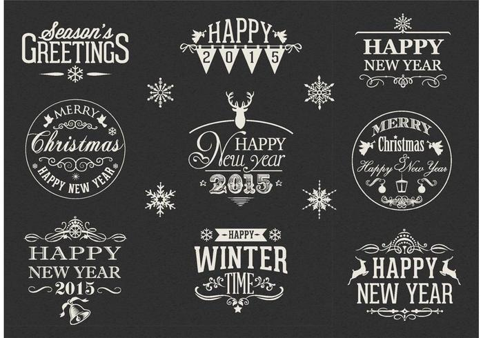 free retro happy new year vector labels