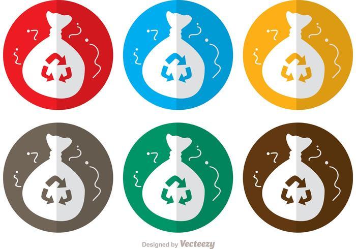 Circle Icon Rubbish Bag Vectors Pack