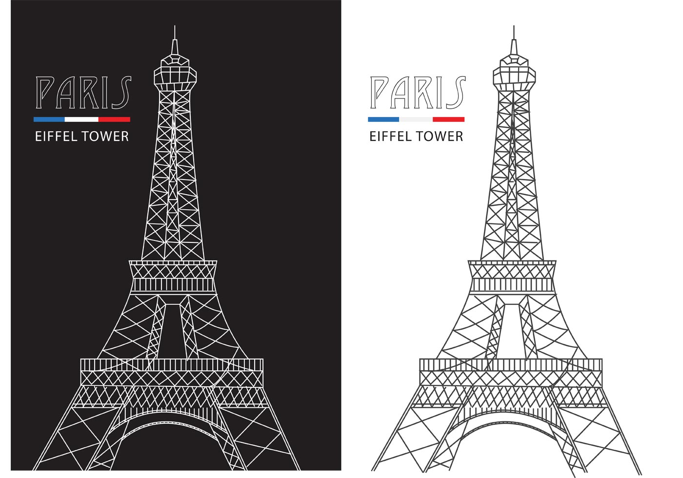 Vector Drawing Lines Java : Free abstract line eiffel tower vector download