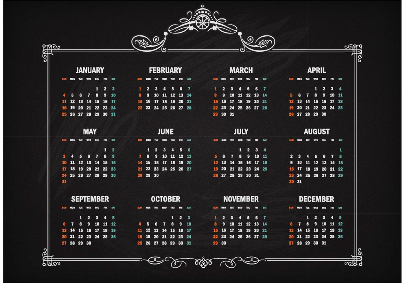 free vector retro calendar 2015 on blackboard