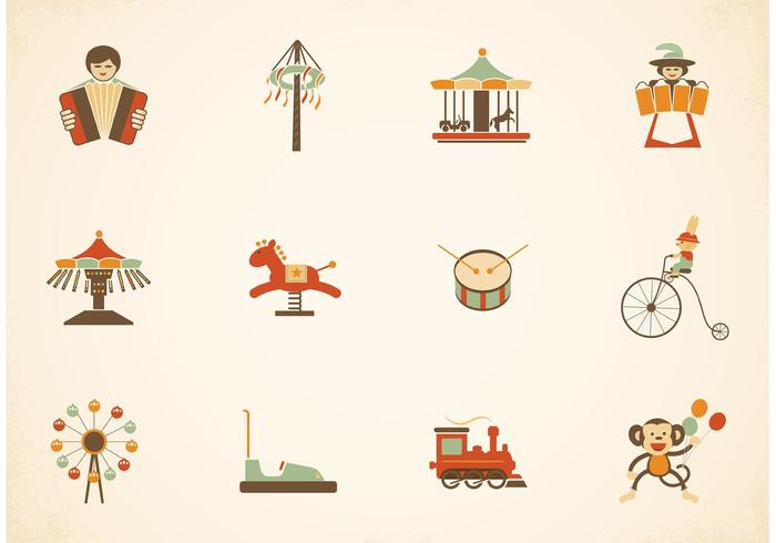Free Vintage Amusement Park Vector Icons
