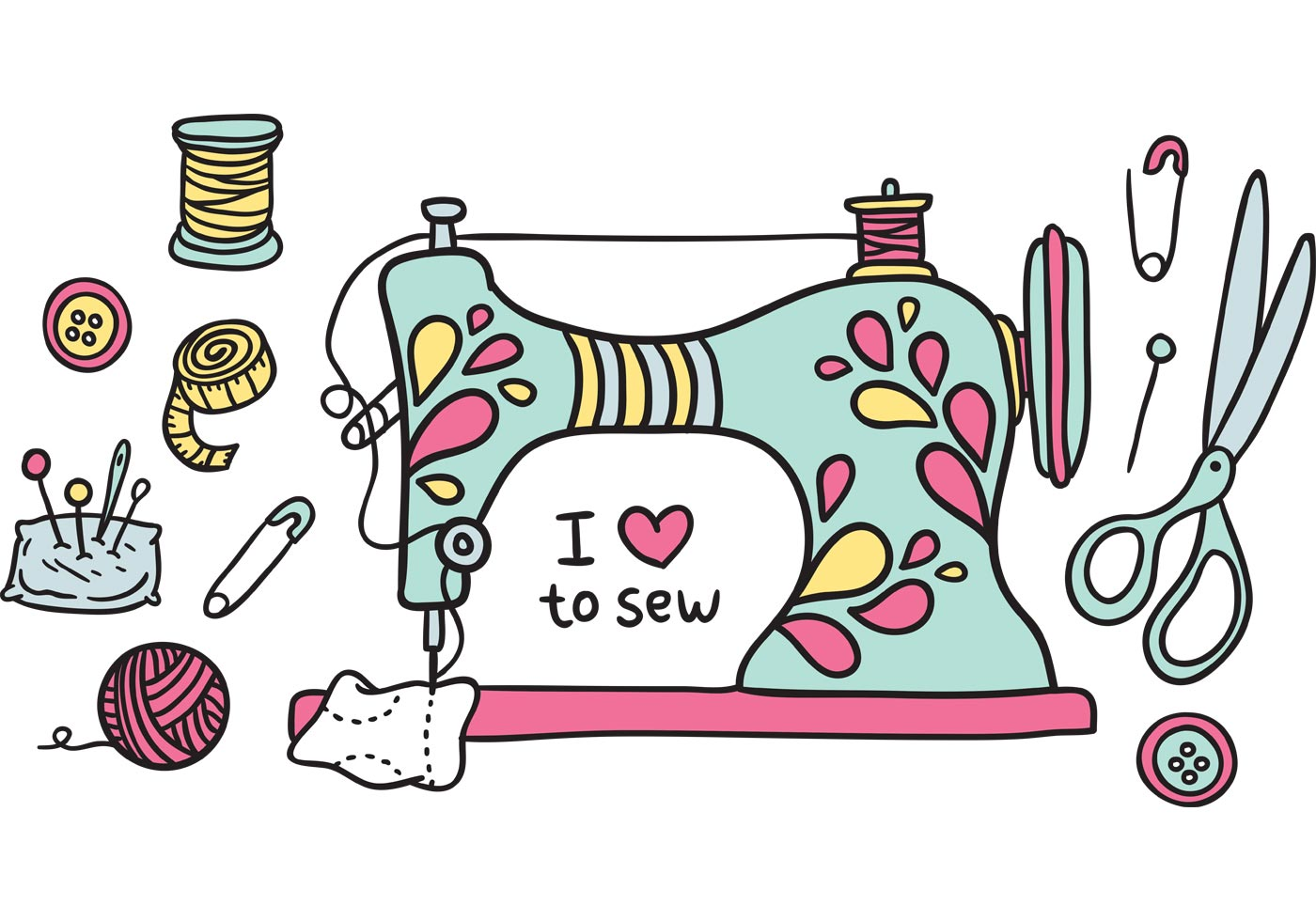 Free vintage sewing machine vector - Download Free Vector Art, Stock ...