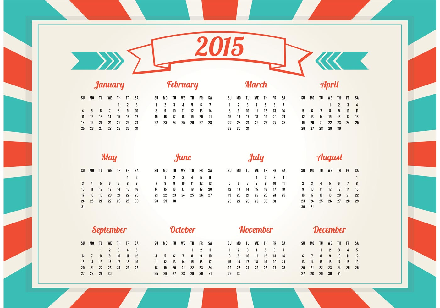 Calendar Vintage Vector : Retro style calendar download free vector art