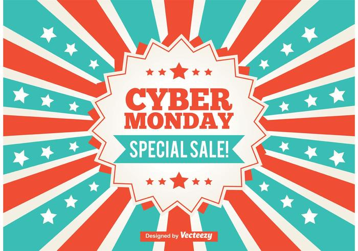 Cyber Monday Promotional Sunburst Background
