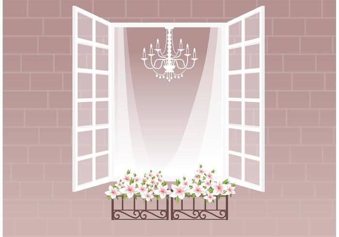 Free Window With Curtain And Flowers Vector