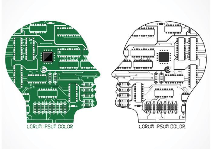 Freier Vektor Menschlicher Kopf Roboter