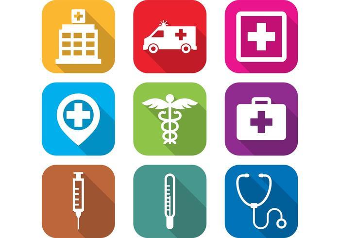 Flat sjukhus ikoner