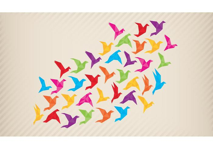 Origami Flock Of Birds Vector