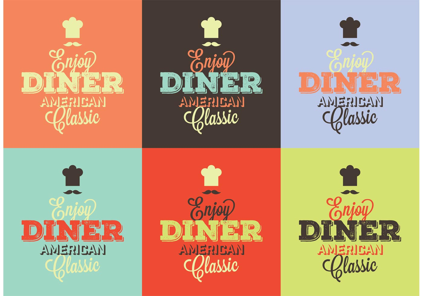 wedding in a garage ideas - Typographic 50s Diner Signs Download Free Vector Art