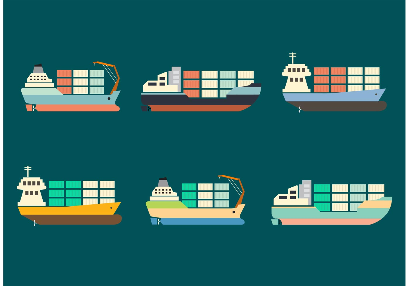 Container Ship Vector Set Download Free Vector Art
