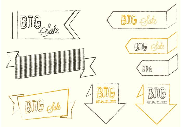 Sketchy Big Sale Banner Vectors