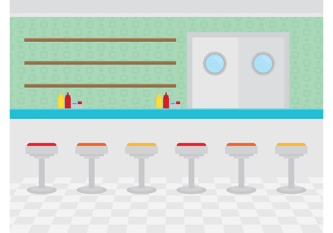 Restaurant Interior Vector : Restaurant interior diner download free vector art