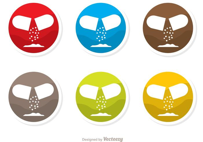Colorful Circle Pills Icons Vector Pack