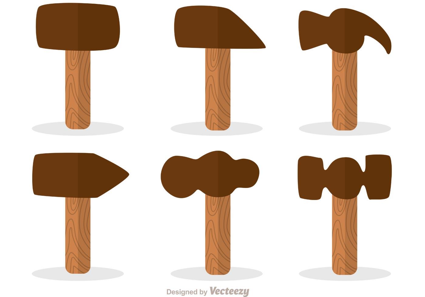 Vector Illustration Hammer: Hammer Flat Design Icons Vector Pack