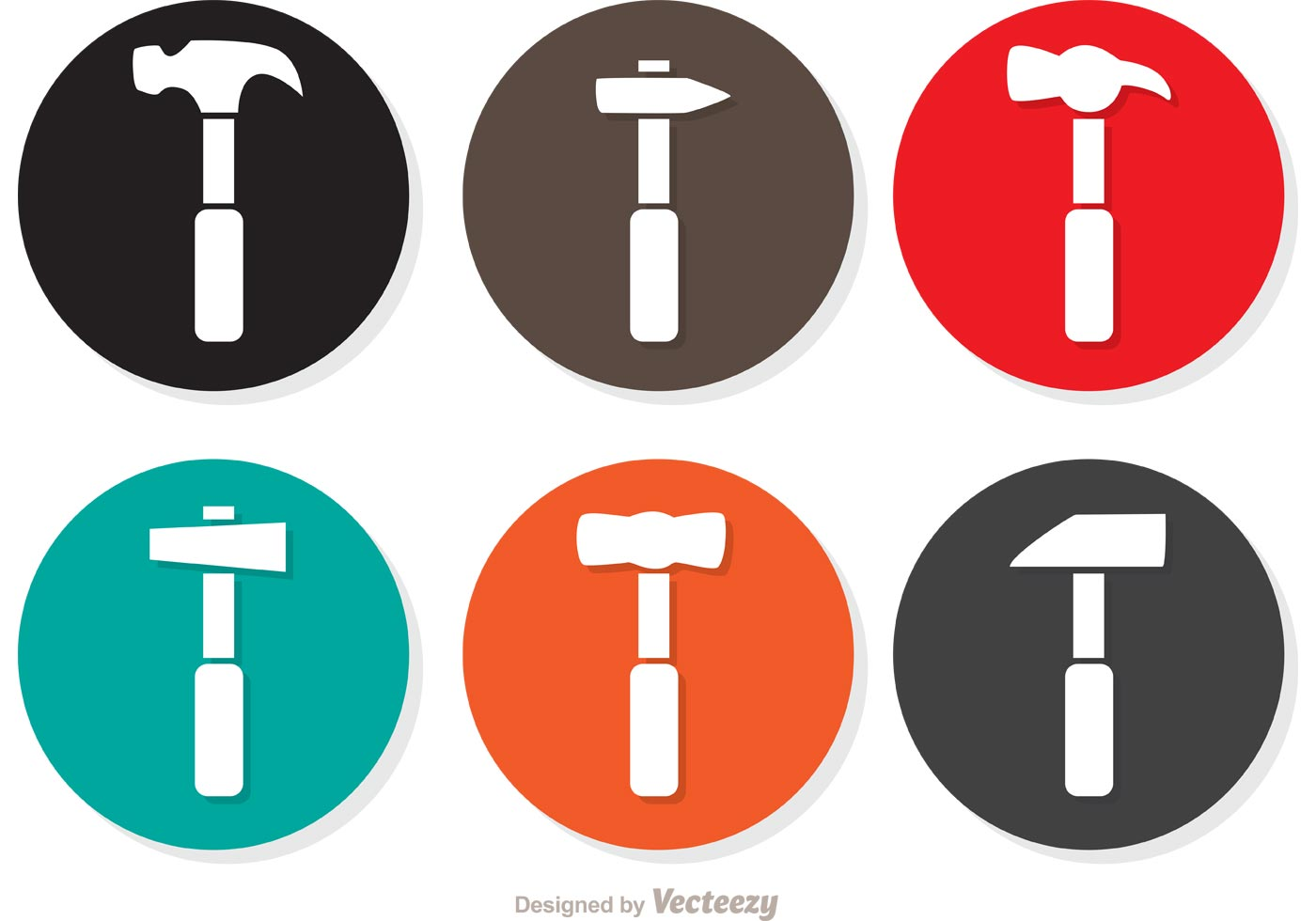 Vector Illustration Hammer: Simple Circle Hammer Icons Vector Pack