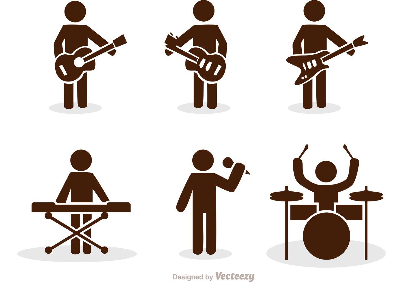 band stick figure icons vector pack download free vector. Black Bedroom Furniture Sets. Home Design Ideas