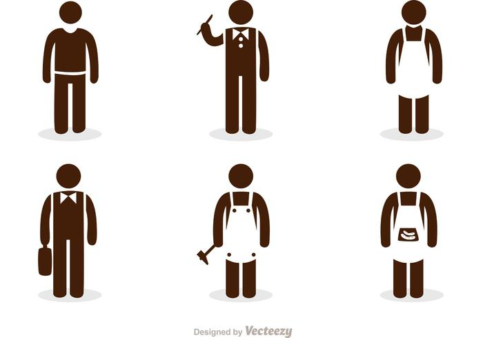 Trabajo Stick Figura Iconos Vector Pack