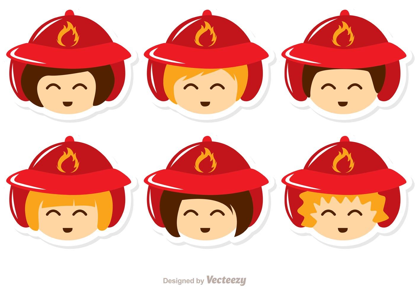 Set Of Cartoon Childrens Faces Stock Vector Art More: Kids Face Fireman Vector Pack
