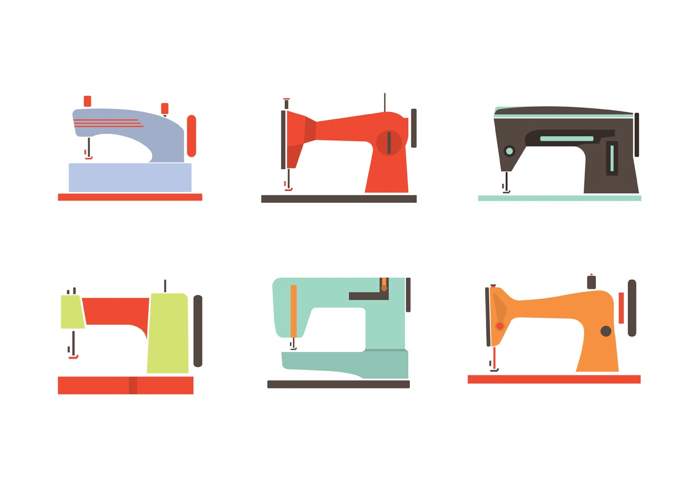 colorful vintage sewing machine vectors download free vector art stock graphics images. Black Bedroom Furniture Sets. Home Design Ideas