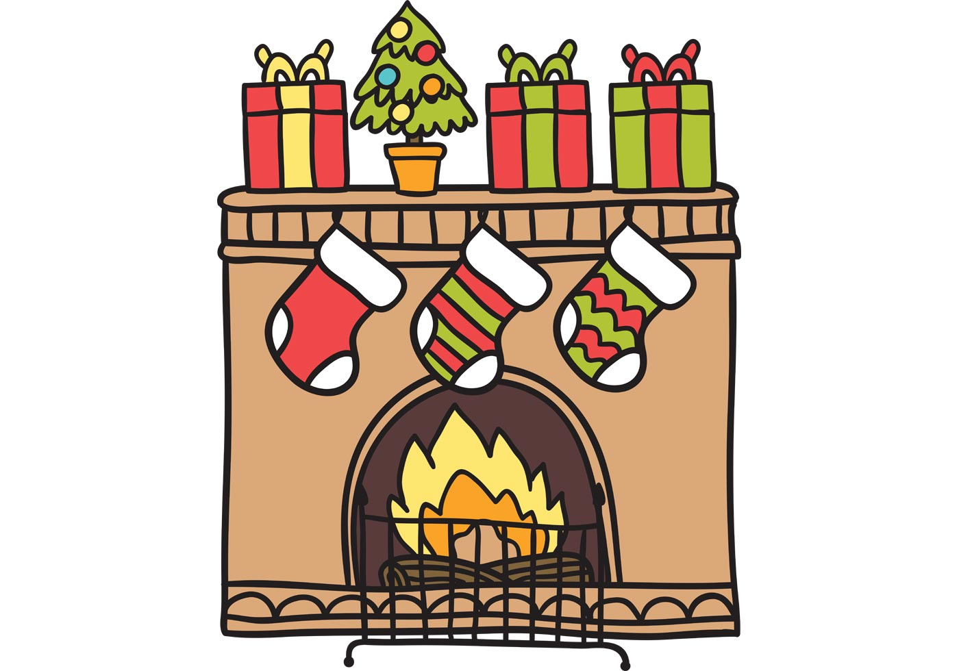 Christmas Fireplace Vector , Download Free Vectors, Clipart