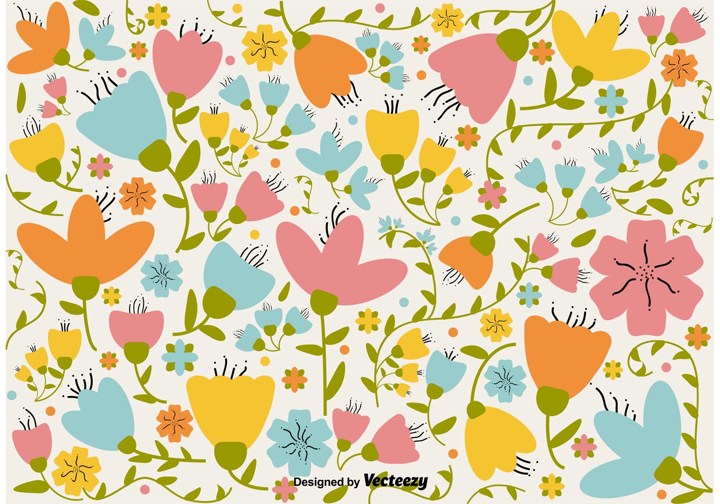 Floral retro background download free vector art stock graphics images - Floral background ...