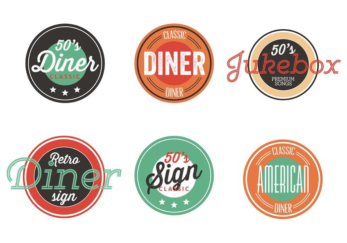 Vintage 50s diner label collection download free vector art stock