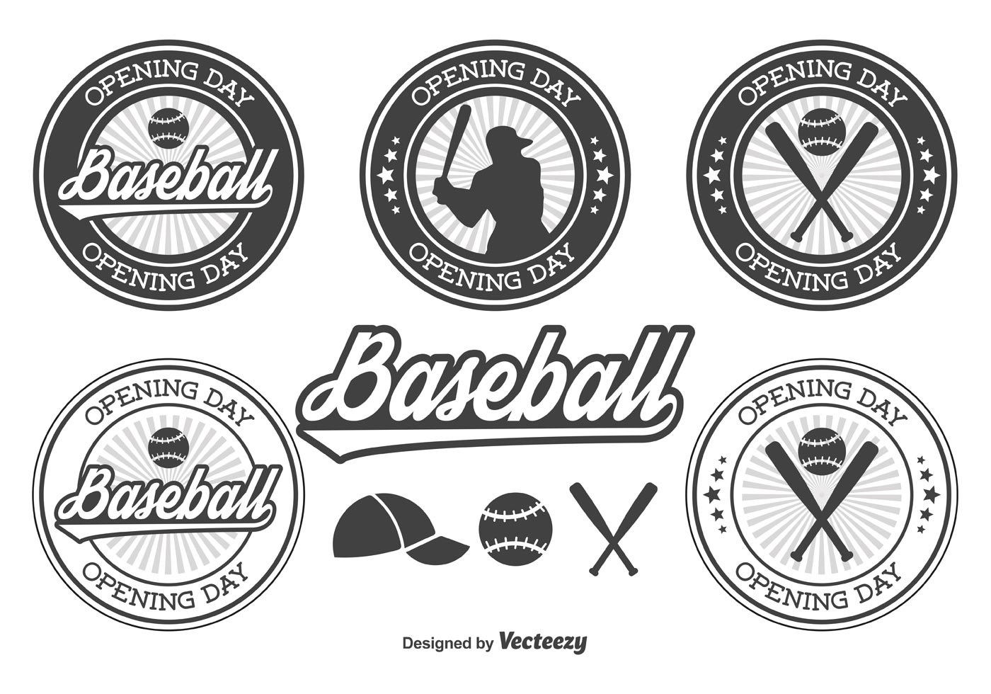 Baseball Opening Day Badges Download Free Vector Art