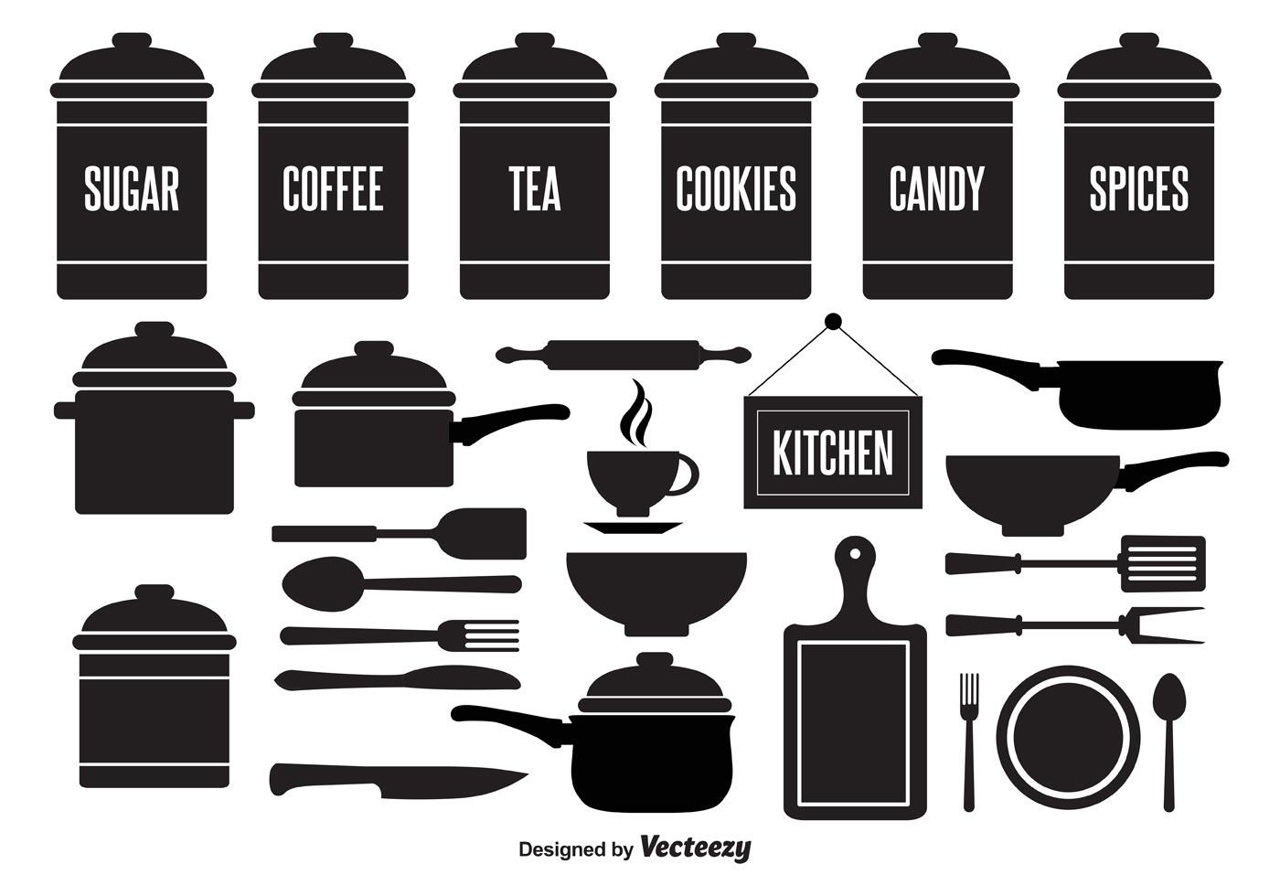 Kitchen element vector set download free vector art for Kitchen set vector