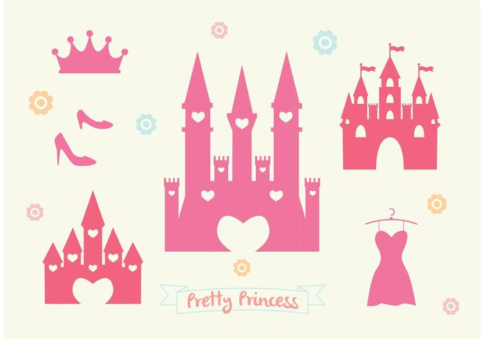 Pink Princess Castle Vector Set