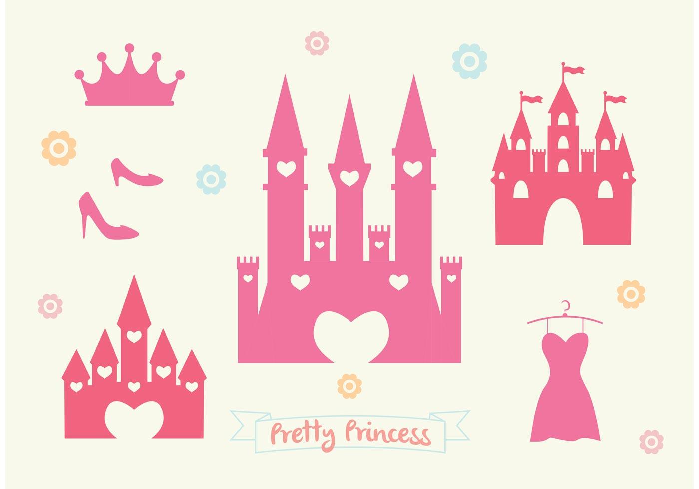 Pink Princess Castle Vector Set Download Free Vector Art
