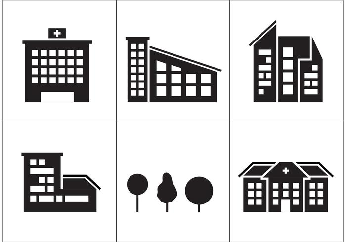 Hospital Building Icons vector