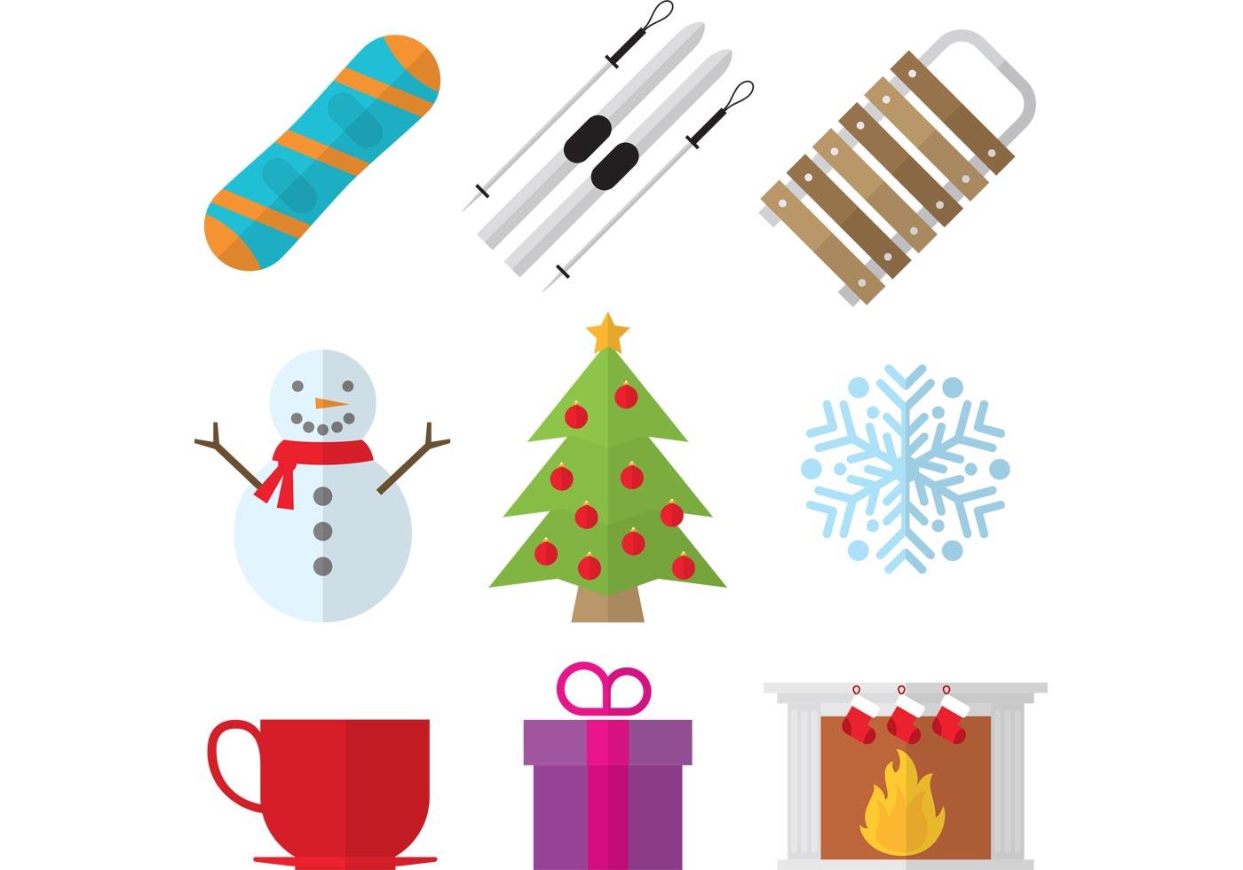 Weihnachts-Saison-Set - Kostenlose Vektor-Kunst, Archiv-Grafiken ...